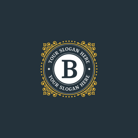 Simple monogram design template with letter B. Elegant frame ornament line logo design. Good for Restaurant, Boutique, Hotel, Heraldic, Jewelry.