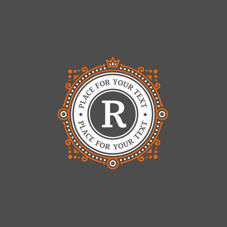 boutique hotel: Plantilla Simple diseño del monograma con la letra R. elegante del ornamento del marco logo línea de diseño. Bueno para restaurante, Boutique, Hotel, heráldico, joyería. Vectores