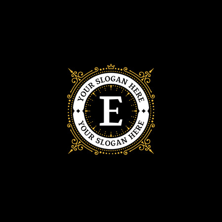 Simple monogram design template with letter E. Elegant frame ornament line logo design. Good for Restaurant, Boutique, Hotel, Heraldic, Jewelry.  イラスト・ベクター素材