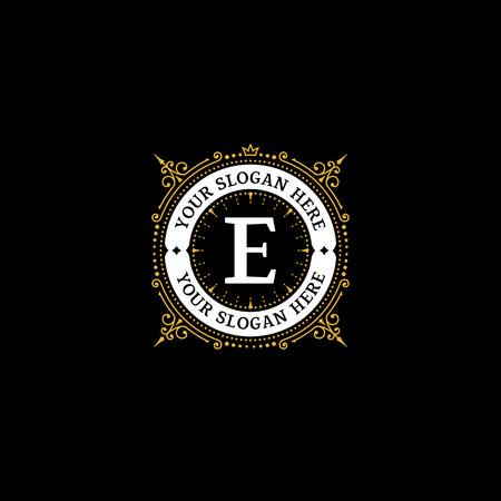 Simple monogram design template with letter E. Elegant frame ornament line logo design. Good for Restaurant, Boutique, Hotel, Heraldic, Jewelry. Illustration