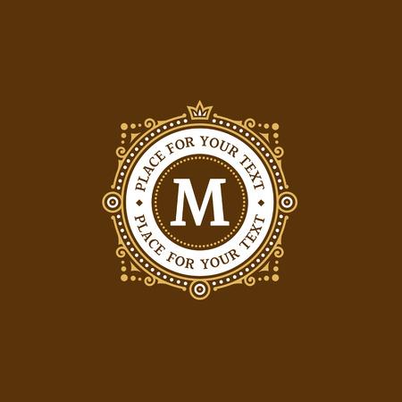 crown logo: Simple and elegant monogram design template with letter M. Elegant frame ornament line logo design. Illustration