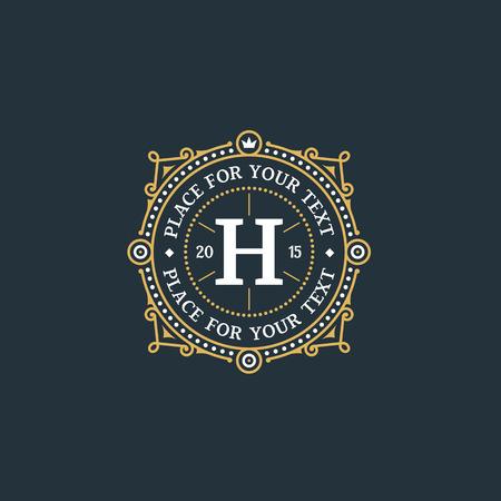 Simple and elegant monogram design template with letter H. Elegant frame ornament line logo design.