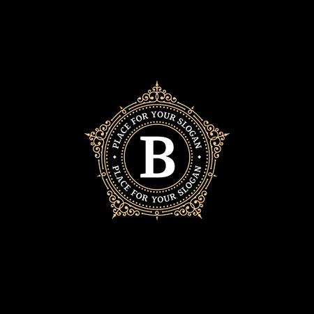 corona real: Lujo plantilla monograma emblema agraciado con letra B. Marco elegante diseño del ornamento de logotipo para Royal signo, Restaurante, Boutique, Café, Hotel, heráldico, joyería, moda