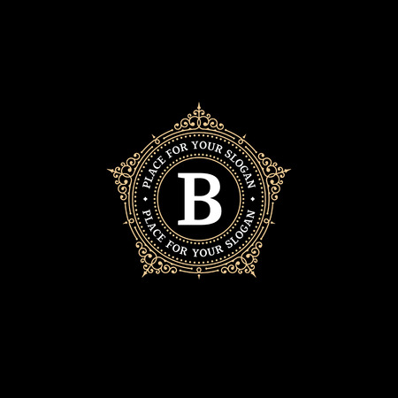 Luxury graceful monogram emblem template with letter B.  Elegant frame ornament logo design for Royal sign, Restaurant, Boutique, Cafe, Hotel, Heraldic, Jewelry, Fashion Çizim
