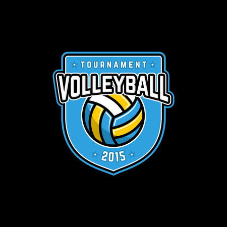 Vector volleyball tournament icon with ball. Sport badge for tournament or championship. Çizim