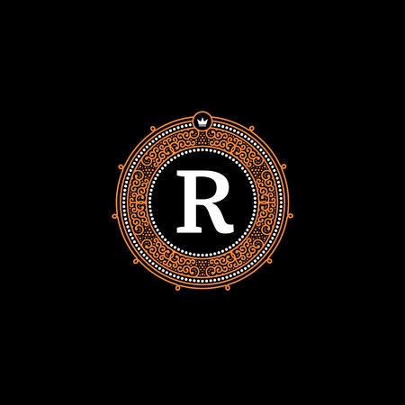 Simple monogram design template with letter R. Elegant frame ornament line icon design. Good for Restaurant, Boutique, Hotel, Heraldic, Jewelry.