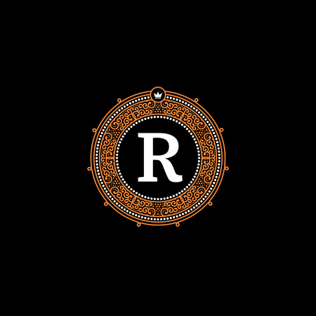 Simple monogram design template with letter R. Elegant frame ornament line icon design. Good for Restaurant, Boutique, Hotel, Heraldic, Jewelry.