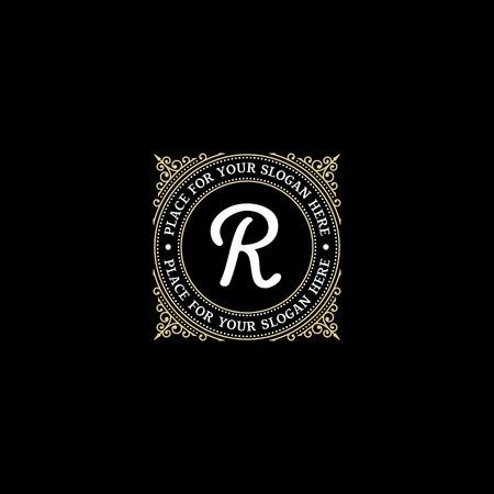 r: Simple monogram design template with letter R. Elegant frame ornament line icon design. Good for Restaurant, Boutique, Hotel, Heraldic, Jewelry.