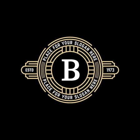 Vintage geometric vector frame with letter B. Art deco golden linear monochrome luxury hipster monogram. Logo design for Royal sign.