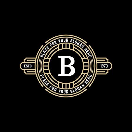 Vintage geometrische vector frame met de letter B. Art deco gouden lineaire monochrome luxe hipster monogram. Logo ontwerp voor Royal teken.
