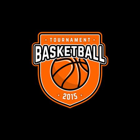 Vector basketbal toernooi logo met bal. Sport badge voor toernooi of kampioenschap