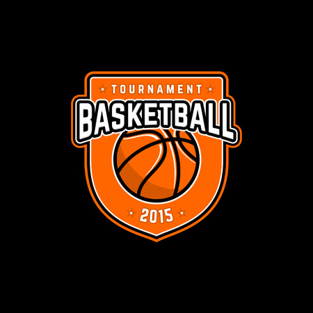 Vector basketball tournament logo with ball. Sport badge for tournament or championship