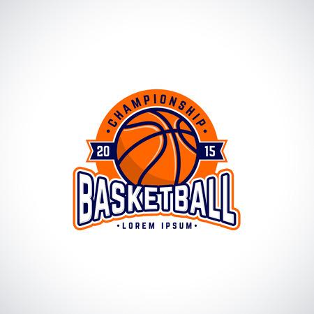 escudo: Icono campeonato de baloncesto del vector con la pelota. Insignia Deporte para el torneo o campeonato
