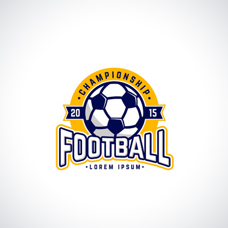 Vector football championship icon with ball. Sport badge for tournament or championship