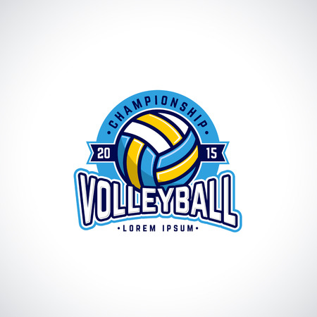 ball: Vector volleyball championship logo with ball. Sport badge for tournament or championship. Illustration