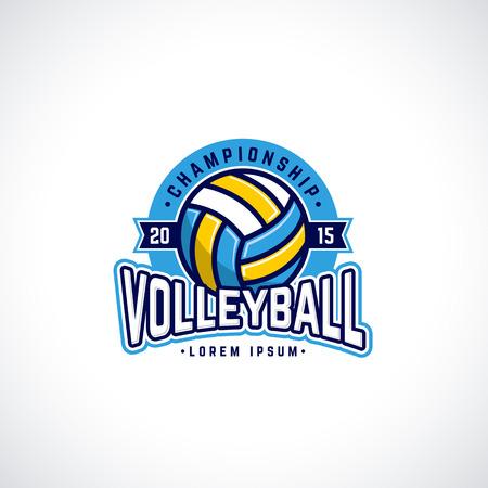 voleibol: Voleibol Vector logo del campeonato con la pelota. Insignia Deporte para el torneo o campeonato.