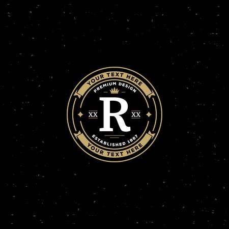 boutique hotel: Plantilla Simple dise�o del monograma con la letra R. elegante del ornamento del marco icono l�nea de dise�o. Bueno para restaurante, Boutique, Hotel, her�ldico, joyer�a. Vectores