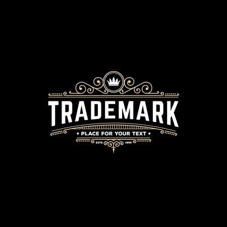 icon template kalligrafische elegante ornament lijnen. Teken voor Restaurant, Royalty, sieraden, Boutique, Cafe, Hotel, Heraldische. Stock Illustratie