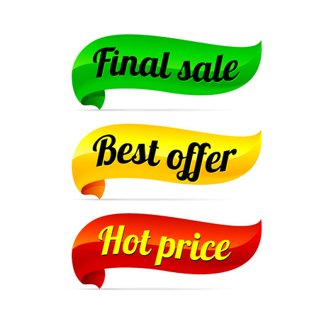 price tag: green, yellow and red ribbon with final sale, best offer and hot price tag Illustration