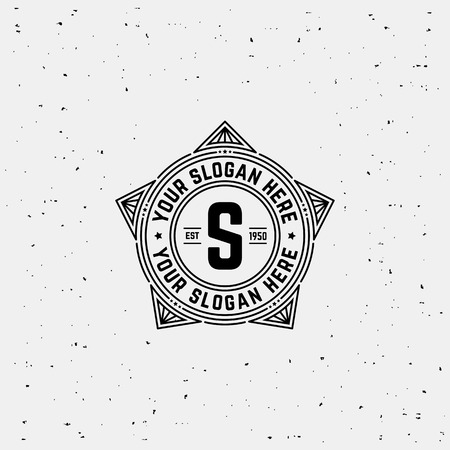 Simple monogram design template with letter S. Elegant frame line design. Star in military style.