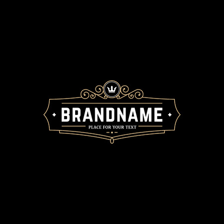 Calligraphic emblem template with crown. Sign for Restaurant, Royalty, Jewelry, Boutique, Cafe, Hotel, Heraldic. Vectores