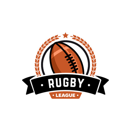 pumped: Vector rugby league  with ball. Sport badge for tournament championship or league.