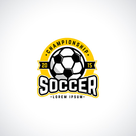 collegiate: Vector soccer championship with ball. Sport badge for tournament or championship.