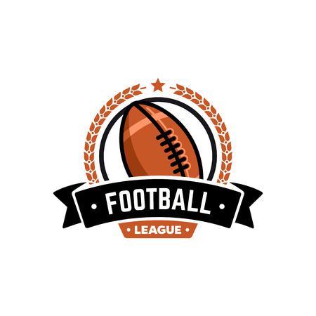 football party: Vector football league logo with ball. Sport badge for tournament championship or league.