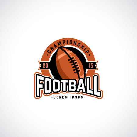 football american: Vector football championship  with ball. Sport badge for tournament or championship. Illustration