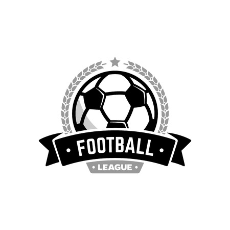 Vector football league  with ball. Sport badge for tournament championship or league.