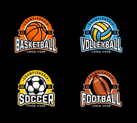equipment: Sport set. Basketball, Volleyball, Soccer, Football. Illustration