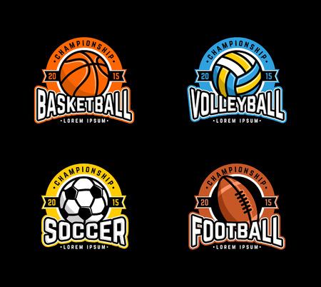 Sport set. Basketball, Volleyball, Soccer, Football. Vettoriali