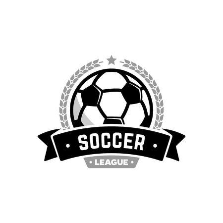 collegiate: Vector soccer league with ball. Sport badge for tournament championship or league.