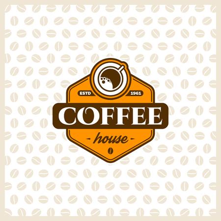 chicchi di caffè: Caff� modello di progettazione con la tazza. Vector caff� etichette.