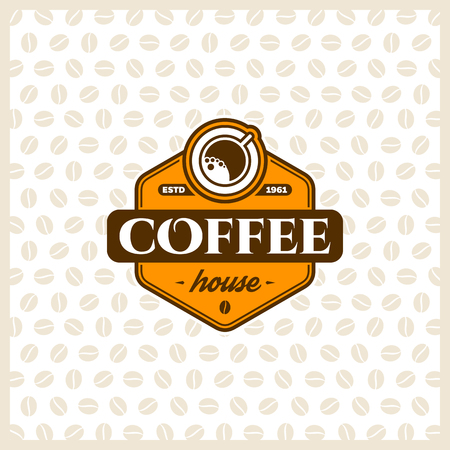 coffee beans background: Coffee  design template with cup. Vector coffee shop labels. Illustration