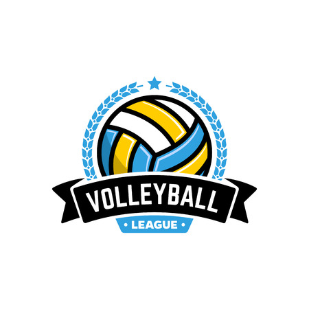 school sport: Vector volleyball league with ball. Sport badge for tournament championship or league.