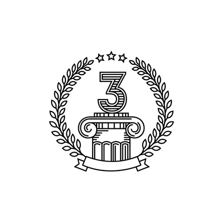 3rd ancient: Third place on column. Elegant lineart vintage label