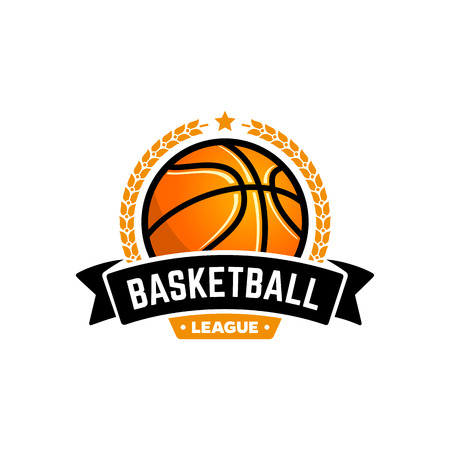 basket: Vector basketball league with ball. Sport badge for tournament championship or league.