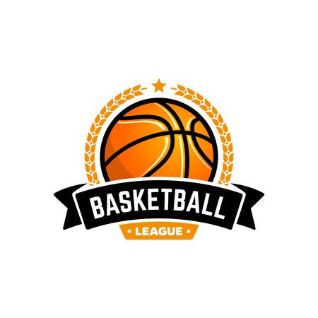 pelota: Vector de la liga de baloncesto con la bola. insignia del deporte para el campeonato del torneo o liga. Vectores