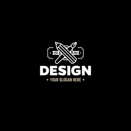 lapiz: plantilla de diseño con lápiz y pluma. Emblema de la vendimia. Vectores