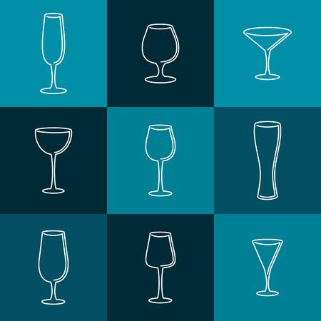 mono: Set of wineglasses. Mono line  design. Vector illustration Illustration