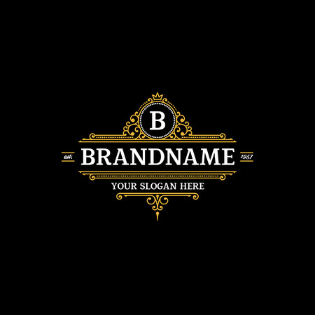 template calligraphic elegant ornament lines. Sign for Restaurant, Royalty, Jewelry, Boutique, Cafe, Hotel, Heraldic.