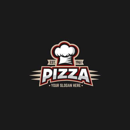 cocinero: Pizza plantilla de diseño con chefs capitalización.