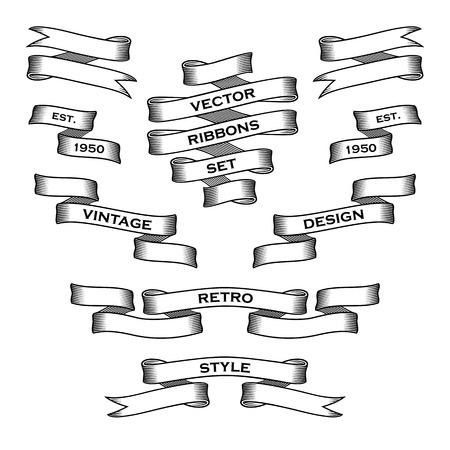 scroll shape: Vintage Ribbon Banners. Vector Collection. Design template. Illustration
