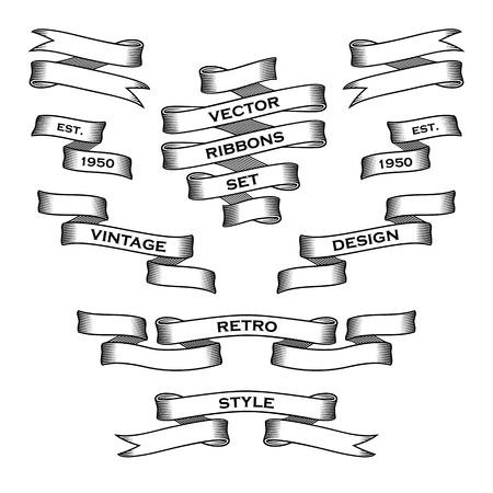 schriftrolle: Weinlese-Farbband-Fahnen. Vector Collection. Design-Vorlage.