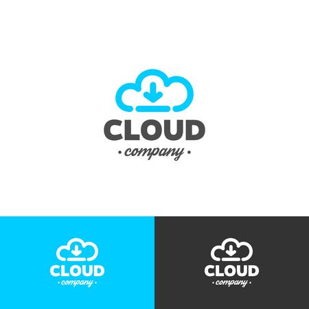 ロゴのクラウド ストレージ。ベクター デザインのテンプレートです。雲と矢印。