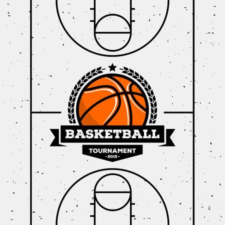 balones deportivos: Logo de baloncesto con la pelota. Adecuado para torneos, campeonatos, ligas. Vector plantilla de diseño. Vectores