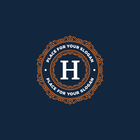 boutique hotel: Plantilla elegante dise�o del monograma con dise�o de letra H. Marco simple l�nea de adorno. Bueno para restaurante, Boutique, Hotel, her�ldico, joyer�a.
