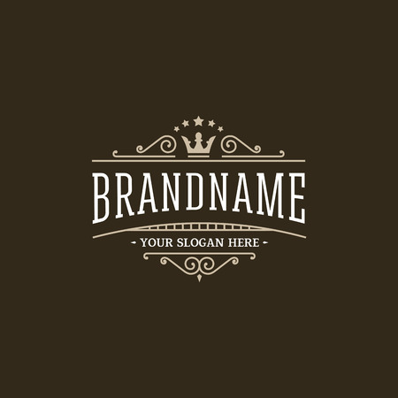 text frame: Retro with crown. Vector design template. Illustration