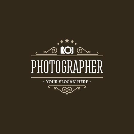 Photographer logo retro style. Vector design template.